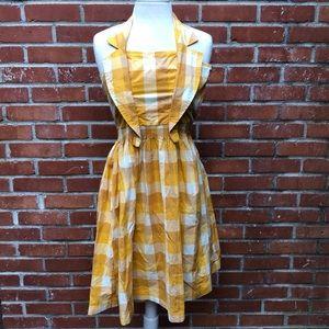 Yellow Plaid Halter Dress